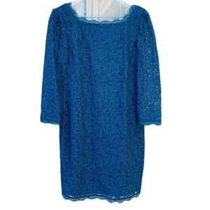 Adrianna Papell Teal Lace Exposed Zipper Dress